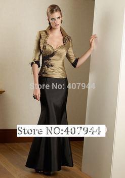 Gold and Black Taffeta Sweetheart Mermaid Long Mother of The Bride Dresses with jacket vestido mae da noiva Plus size