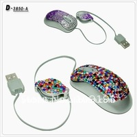 Lastest colorful diamond cute retractable mouse