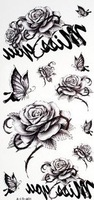 Fashion charming black flowers and butterflies fake tattoos for women