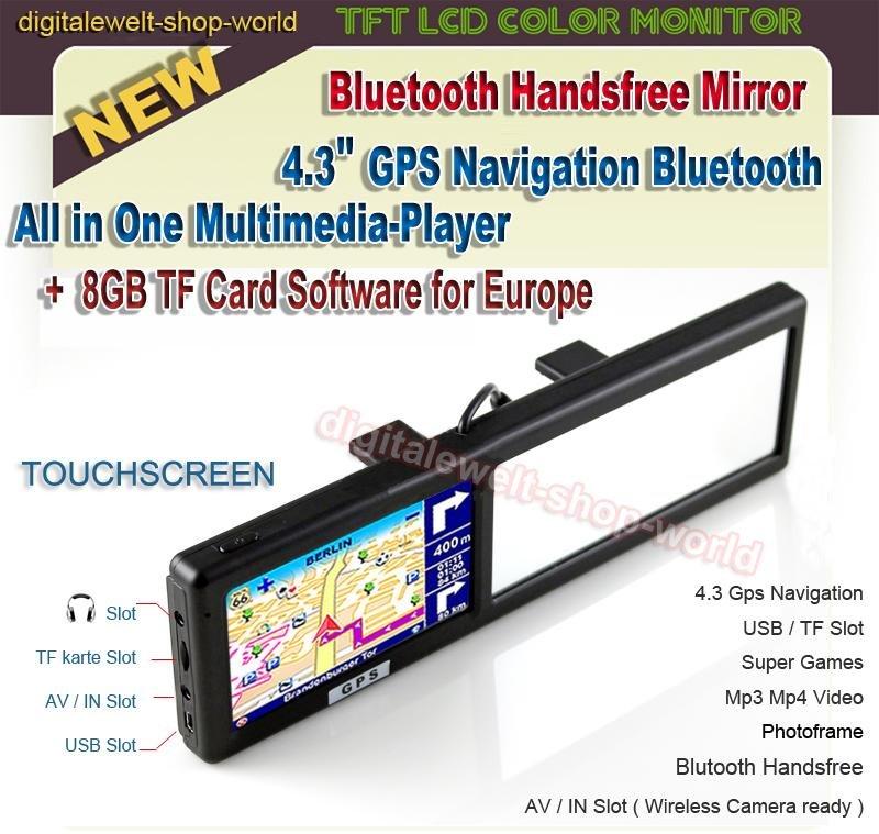 Rear View Mirror Hand-held GPS Navigators + Bluetooth Handsfree AV In + 8GB TF Novelty(China (Mainland))