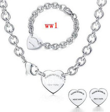 new 925 Sterling Silver necklace and Bracelet set Jewelry necklaces + Bracelets set come with packaging  rye5yhfcgf(China (Mainland))