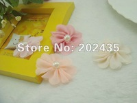 Wholesale 100pcs a lot different color mixed hair flower accessory hair flower accessories without hair clip for DIY DI41