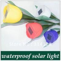 Novelty Solar Powered Tulip flower light Garden landscape Light Solar lawn lamp Yard Stake Decor free shipping