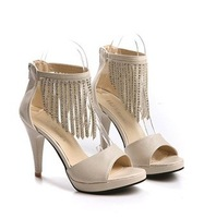 free shipping fishing mouth womens fashion shoes with tassels rhinestone sandal high heel #1016