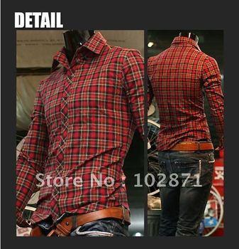 Free Shipping 2014 Korean Mens Casual Shirts Dress Long Sleeve Plaid shirt Red color