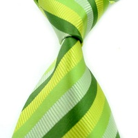 1 pcs Free shipping or mix order wholesale Green Stripe Silk Classic fashion design tie for men+best selling-fiona&#39;s store FT032