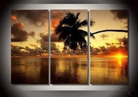 Free Shipping Wholesale High Quality Hand Painted Coconut Palm on Canvas FA03PL1001