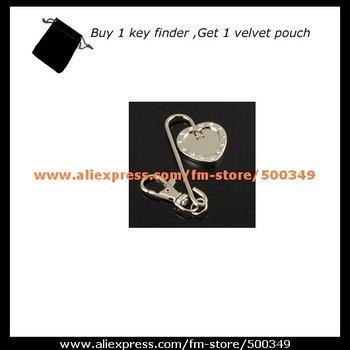 Blank Purse Key Finders Hooks Plain Sliver Heart Key Purse Finder with Velvet Pouch + Wholesale (50pcs/lot)