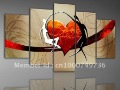 Framed 5 Panels 100% Handpainted Large Oil Paintings Modern Wall Canvas Art Set Sex Nude Love Picture Drop Shipping--XD00004
