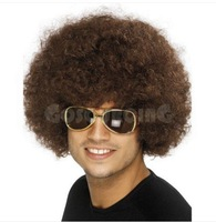 afro 70s disco wigs fancy dress costume unisex brown
