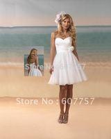 Wholesale Retail Hot Sale Strapless White Chiffon Flower Short  Wedding Dresses Tea-length Bridal Dresses S22