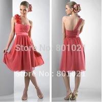 2012 Hottest Sale Chiffon one shoulder  fabric motif flowers short dress Coral  Cheappest Cocktail Dresses