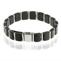 Stainless Steel & Black Rubber Men's Bracelet&Stainless Steel Magnetic Bracelet