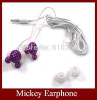 EMS Mickey Earphone Earphones , Mini Earphone Stereo Earphone 100pcs Free Shipping Best Choose