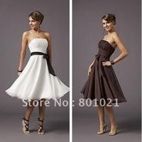 A-line Demure Knee Length Chiffon Strapless Knee Length 2012 Homecoming Dress