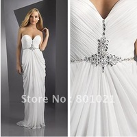 2012 Delicate ruching elegant draping sparkling beadwork Ivory Strapless Evening Gown Formal Dress