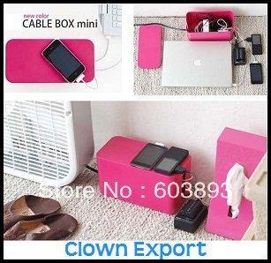 Free Shipping    D17984CL    Cretive design computer Cable box Mini color Wire Storage Box