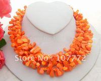 Charming! 3Stard 11MM Orange Coral Necklace  +free shippment