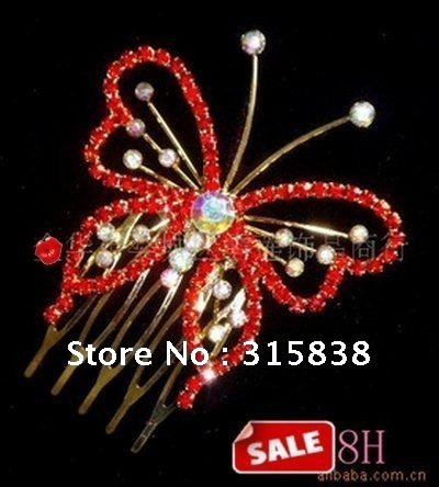 Free delivery, beautiful bride butterfly shape hair comb, high-quality goods headwear products,10pieces/lot.(China (Mainland))