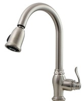 Free shipping brushed nickel  Elegant Finish Kitchen Faucet Swivel Pull-Down Single Lever Pull-Out New