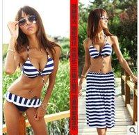 swimwear swimsuits bikini  MOQ 1set bikini+clothes navy stripe design stylish slim  beach style new present gift!!