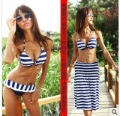 swimwear swimsuits bikini  MOQ 1set bikini+clothes navy stripe design stylish slim  beach style new present gift!!