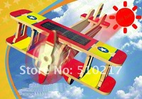 9pcs new educational children toy wooden solar-powered aircraft model airplane building block biplane power dragon P220
