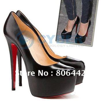 Womens Fashion Pump Platform Stiletto High Heel Shoes Sexy Black Red Sole Free shipping