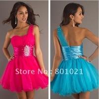 Effortless Sequin Short  Empire Waistline One Shoulder Party Dress