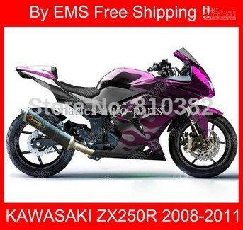 Motorcycle Fairing Kit for KAWASAKI Ninja ZX250R 08 09 10 11 12 ZX 250R 2008 2010 2012 EX250 Purple silver Fairing parts