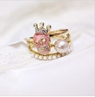 R0060 Punk gothic Cute 3 Pieces Ring Set Pearl Crown Skull Skeleton Rings for women Gold Tone Jewelry wholesale CC