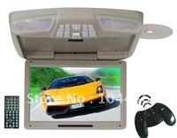 "5PCS/lot 12"" car roof mount DVD player TV+USB SD FM IR MP4 MP3 player car dvd tv flip down monitor FREE Wireless Game joystick"