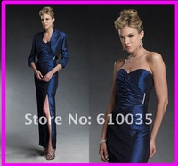 Sexy Sweetheart  Sheath Ankle-Length Charmeuse Satin Mother Of The Bride Dresses with Long Sleeve Jacket