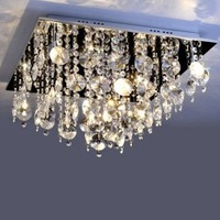 NEW Free Shipping High Quality Modern Crystal Flush Mount with 9 Lights in Square