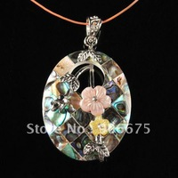 Free Shipping! Fashion K-Gold Plated Mother of Pearl Abalone Shell Gemstone Flower Oval Jewelry Necklace Pendant Beads Wholesale