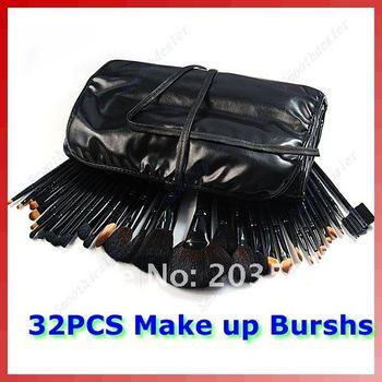 32 pcs Makeup Brush Brushes Cosmetic Set Leather Case