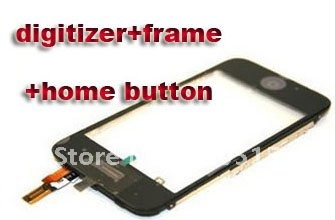 Touch Screen Digitizer with frame  home buttom for iphone 3gs black  colors  free shipping