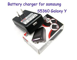 Free ship 20pcs for Samsung S5360 galaxy Y battery charger