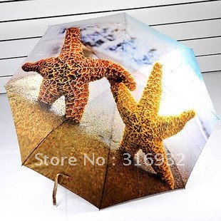 Free shipping,  Fashion designer Animal starfish folding Manual Umbrella rain/parasol for sale
