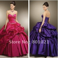 Fantasy Ballgown Sweetheart Beaded Accents Taffeta Hot Pink 2012 Quinceanera Dresses