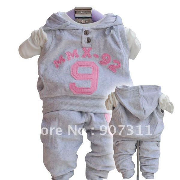 Girl waistvest shirt pant baby suit set baby clothing set children