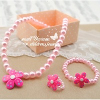 Free shipping 12Sets/lot Top baby products/3 color Lovely flowers Necklace+Bracelet+Rings Children/Kids jewelry sets TZ07221