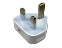 100pcs/lot Genuine USB UK Mains Charger AC 3 Pin Power Adaptor Adapter Plug For iPhone 4S 4G Retail Package Optional