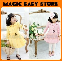 all stock  now free shipping Fashin dust coat/blue coat/Satin bow dress/girl's clothing/kids dress coat/ girl wear