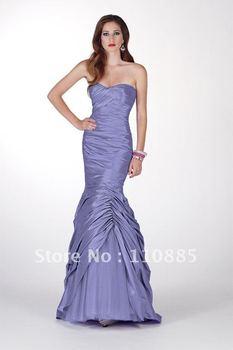 trumpet sweetheart pleats taffeta prom gown