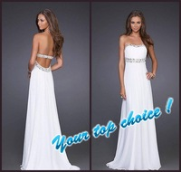 Free Shipping Strapless White Chiffon Beaded Formal Gown Brush Train Long Prom Dresses 2012