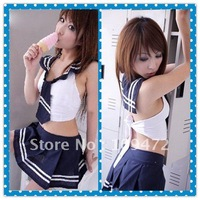 Wholesale Free Shipping Lingerie Sexy Underwear Nightwear DS Show Stunning School Uniform Dress Thong Panty Suit Gift 8125 1Set