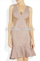 Free Shipping+MOQ1 2012 Hl New Arrival Fashion V-neck Sexy Sequined Cocktail Prom Bandage Dress