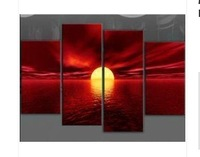 MODERN ABSTRACT LARGE RED CANVAS WALL PICTURE SEA SUNSET BEACH (no framed)