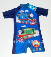 wholesale 2012 baby boys THOMAS one piece UV protection swimwear baby cartoon rash guards short sleeve swimsuit bathing suit